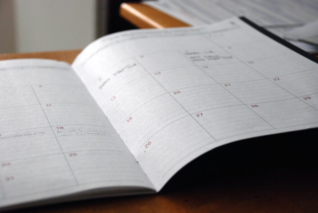 Open planner with calendar page