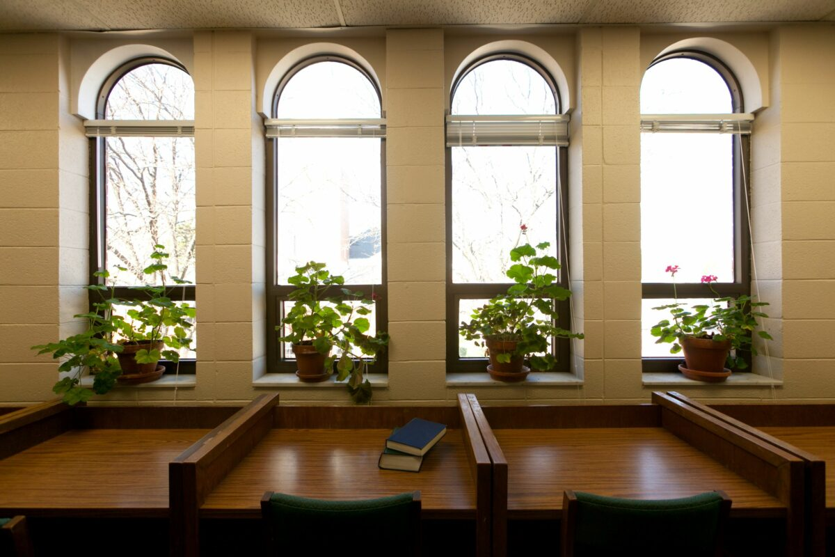 Empty study carrels in Wheaton Buswell Library with arched windows and geraniums