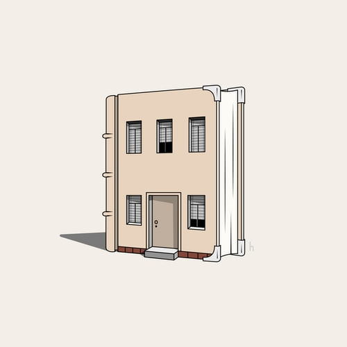 An illustration of a book that looks like a house